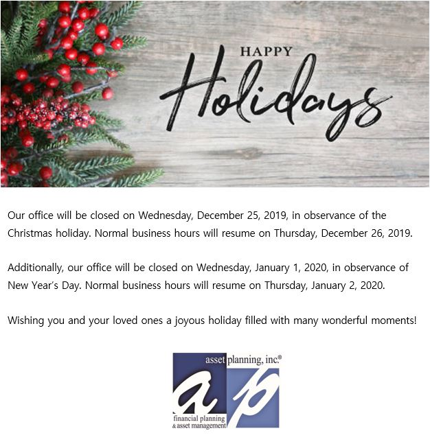 Happy Holidays from Asset Planning Inc!
