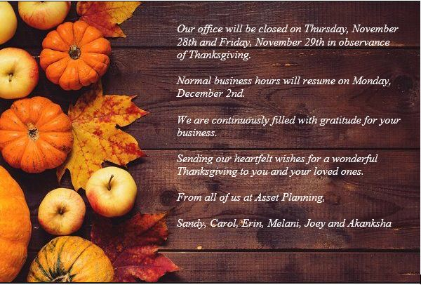 Happy Thanksgiving from Asset Planning
